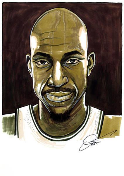 Nba Drawing - Kevin Garnett Portrait by Dave Olsen