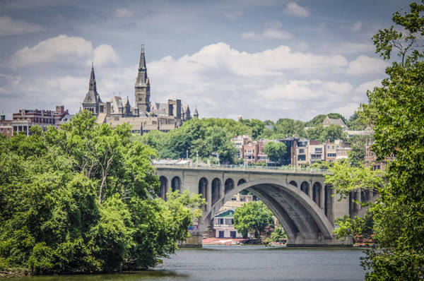 Colleges Photograph - Key Bridge And Georgetown University by Bradley Clay