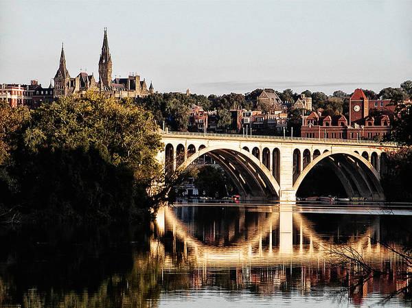 Potomac River Photograph - Key Bridge And Georgetown University Washington Dc by Bill Cannon