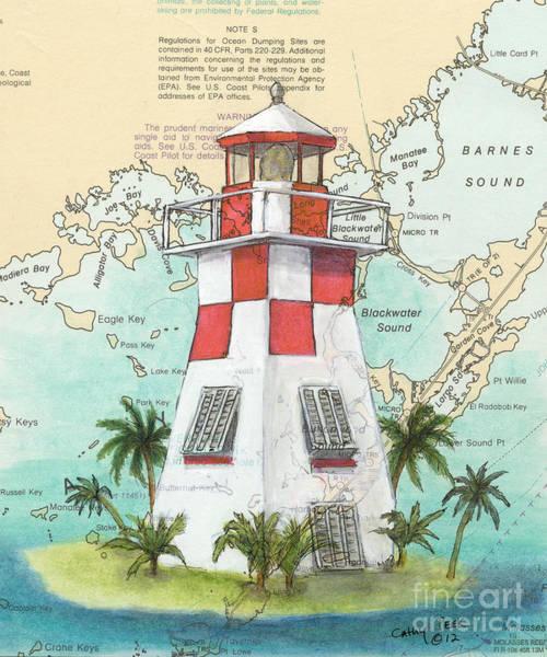 Wall Art - Painting - Key Largo Lighthouse Fl Cathy Peek Nautical Chart Map Art by Cathy Peek