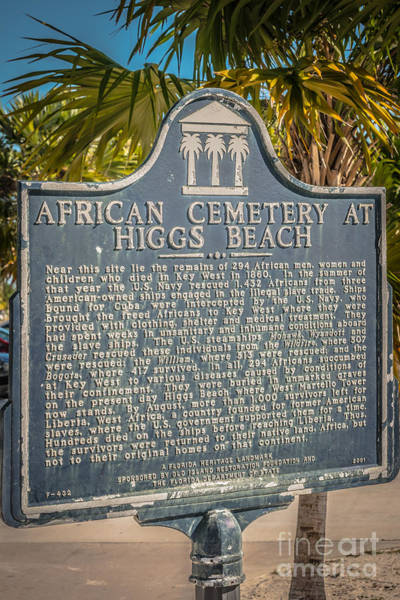 Clarence Photograph - Key West African Cemetery Sign Portrait - Key West - Hdr Style by Ian Monk