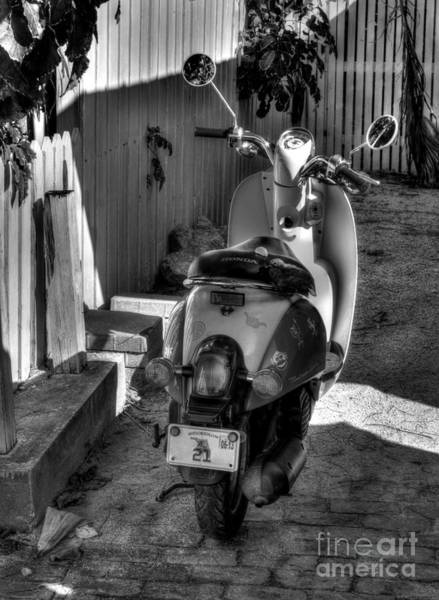 Photograph - Key West Scooter Bw by Mel Steinhauer