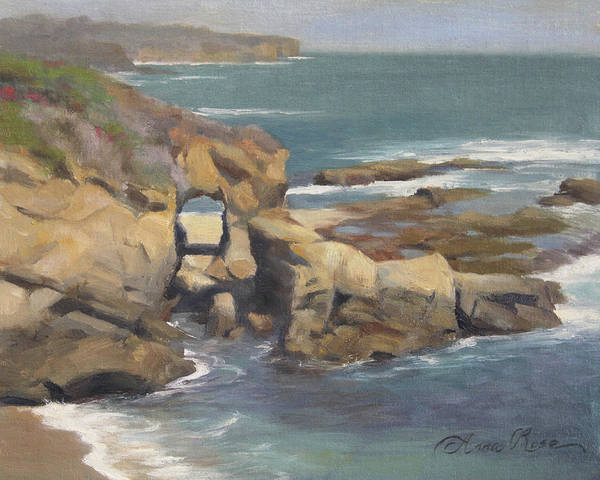 Rock Painting - Keyhole Rock At The Montage Laguna Beach by Anna Rose Bain
