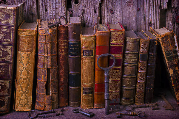 Skeleton Key Photograph - Keys And Books by Garry Gay