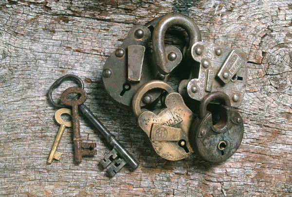 Padlock Photograph - Keys And Padlocks by Tony Craddock/science Photo Library