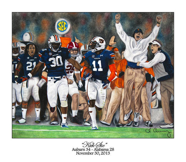 Gus Wall Art - Painting - Kick Six by Lance Curry