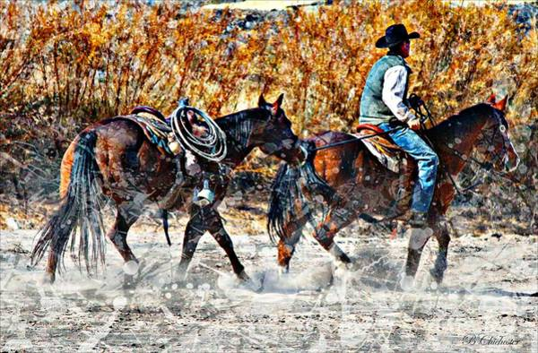 Roping Painting - Kickin Up The Rio II by Barbara Chichester