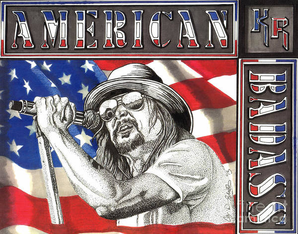 Rock Music Drawing - Kid Rock American Badass by Cory Still