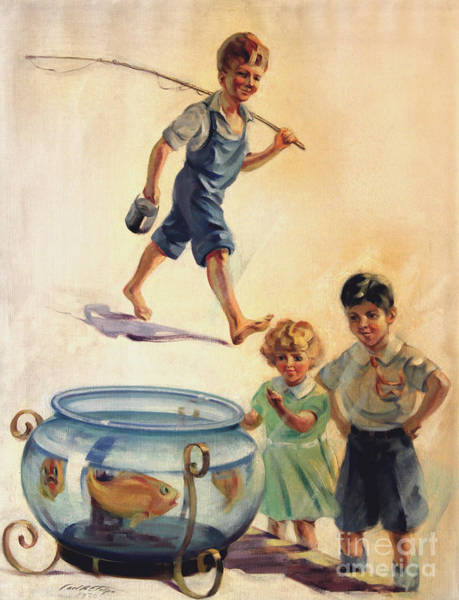Painting - Kids And Fishing  1934 by Art By Tolpo Collection