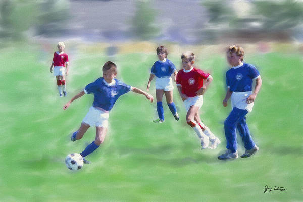 Kids Soccer Game Art Print