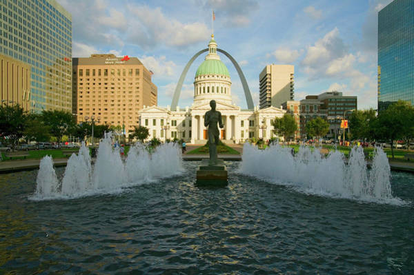 Greek Revival Architecture Photograph - Kiener Plaza - The Runner In Water by Panoramic Images
