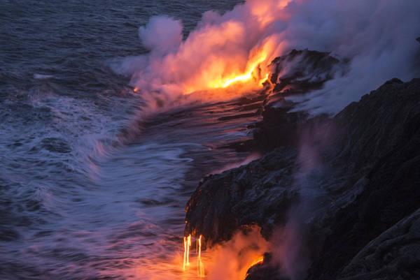 Wall Art - Photograph - Kilauea Volcano Lava Flow Sea Entry 4 - The Big Island Hawaii by Brian Harig