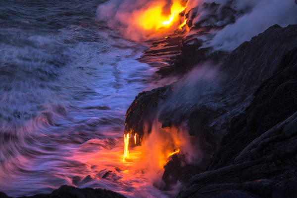 Magma Wall Art - Photograph - Kilauea Volcano Lava Flow Sea Entry 5 - The Big Island Hawaii by Brian Harig