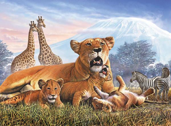 Mountain Lion Photograph - Kilimanjaro Lions by MGL Meiklejohn Graphics Licensing