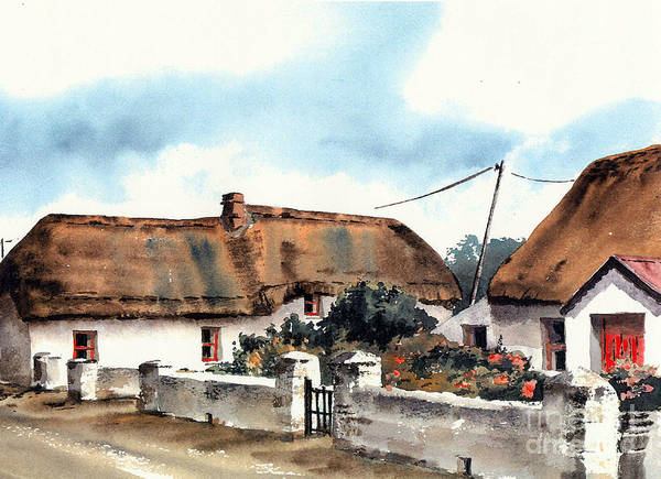 Painting - Kilmore Quay Thatch  Wexford by Val Byrne