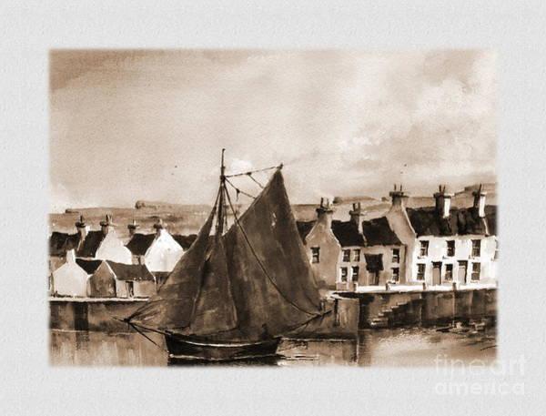 Galway Painting - Kilronan Aran Galway by Val Byrne
