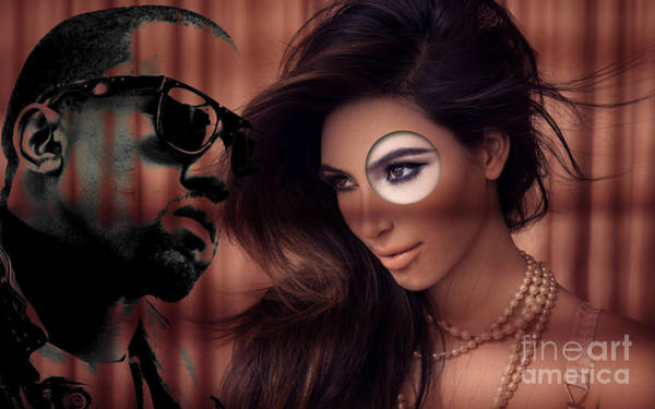 Kanye West Poster Wall Art - Mixed Media - Kim And Kanye by Marvin Blaine