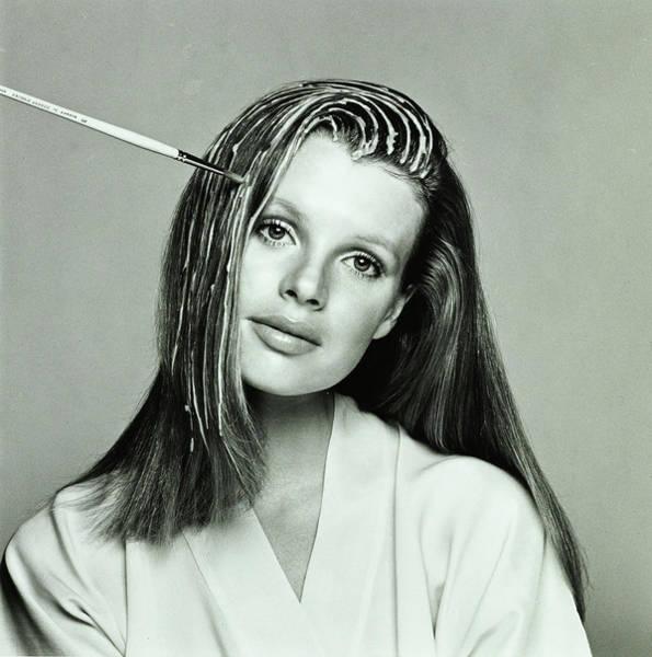 Kim Basinger Photograph - Kim Basinger Having Her Hair Highlighted by Francesco Scavullo