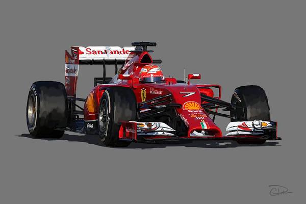 Puma Digital Art - Kimi - Ferrari F14t by Charley Pallos