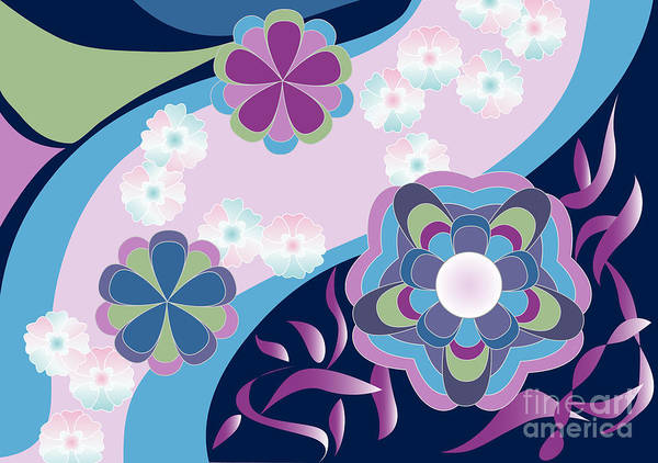 Digital Art - Kimono-inspired Summer Flowers By The River by Beverly Claire Kaiya