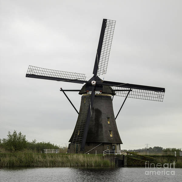 Noord Holland Wall Art - Photograph - Kinderdijk Windmill Anno 1740 Squared by Teresa Mucha