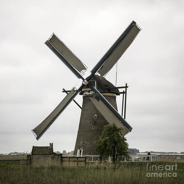 Noord Holland Wall Art - Photograph - Kinderdijk Windmill Museum Squared by Teresa Mucha