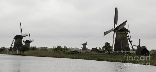 Noord Holland Wall Art - Photograph - Kinderdijk Windmills 04 by Teresa Mucha