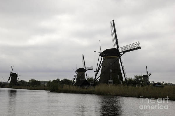 Noord Holland Wall Art - Photograph - Kinderdijk Windmills 05 by Teresa Mucha