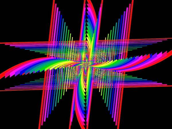 Symmetric Digital Art - Kinetic Rainbow 58 by Tim Allen