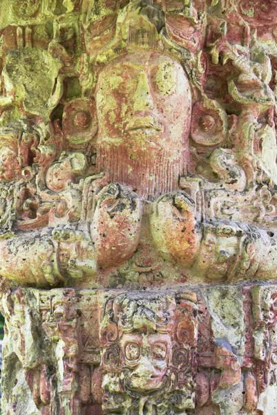Carving Photograph - King 18th, Mayan Ruins In Copan, Unesco by Keren Su