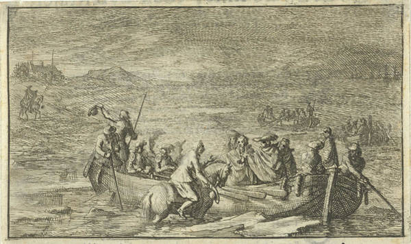 Wall Art - Drawing - King And His Entourage In A Rowboat, Jan Luyken by Jan Luyken And Jan Claesz Ten Hoorn