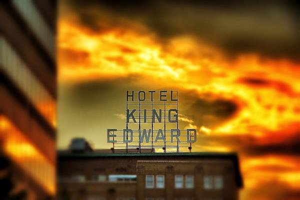 Photograph - King Edward Hotel Sign At Sunset by Jim Albritton