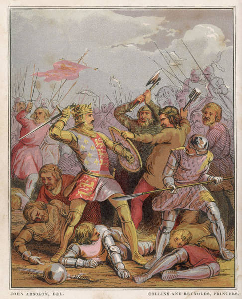 Wall Art - Drawing - King Henry V Engages In Hand-to- Hand by Mary Evans Picture Library