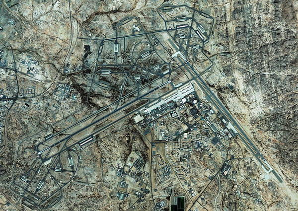 Runway Photograph - King Khalid Airbase by Geoeye/science Photo Library