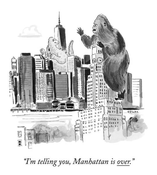 News Drawing - King Kong, Atop The Williamsburgh Savings Bank by Emily Flake
