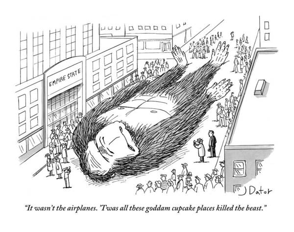 Drawing - King Kong Lies Dead In The Street At The Foot by Joe Dator