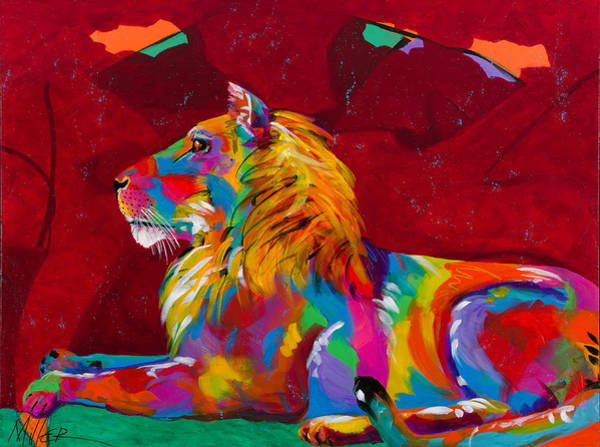 Colorado Wildlife Wall Art - Painting - King Lion by Tracy Miller