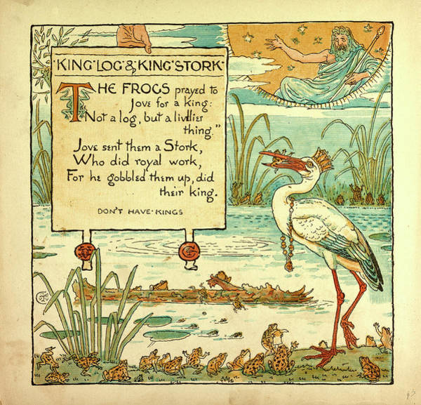 Log Drawing - King Log And Kings Stork by English School