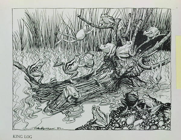 Moral Wall Art - Photograph - King Log, Illustration From Aesops Fables, Published By Heinemann, 1912 Engraving by Arthur Rackham