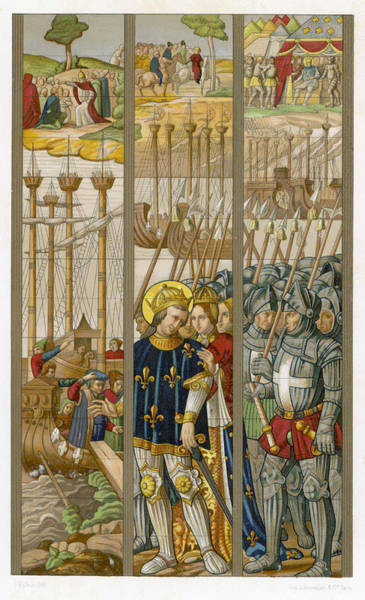 Wall Art - Drawing - King Louis Ix Of France Embarks by Mary Evans Picture Library