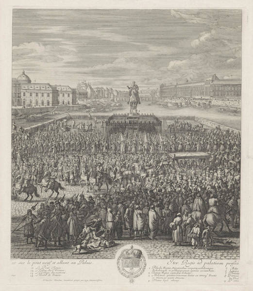Royal Court Drawing - King Louis Xiv Of France Crossing The Pont-neuf by Jan Van Huchtenburg