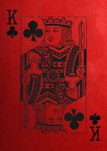 Digital Art - King Of Clubs In Black On Red Canvas   by Serge Averbukh