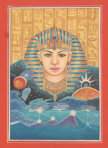 Wall Art - Painting - King Of Egypt Faroha Pyramid Maths Miniature Painting Fine Artwork  by A K Mundhra