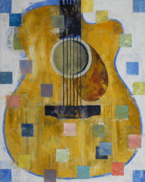Oil Pastel Painting - King Of Guitars by Michael Creese