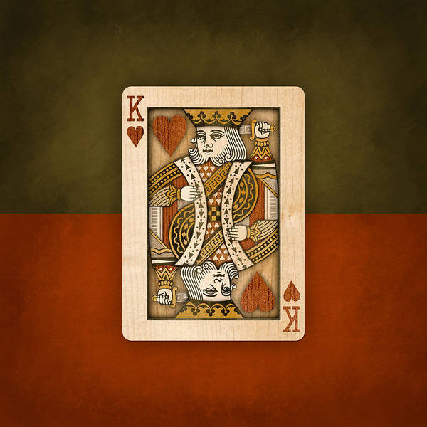 Straight Photograph - King Of Hearts In Wood by YoPedro