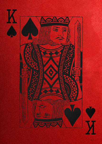 Digital Art - King Of Spades In Black On Red Canvas   by Serge Averbukh