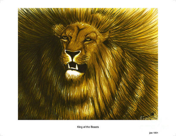 Carnivorous Drawing - King Of The Beasts by Jonas Jeque