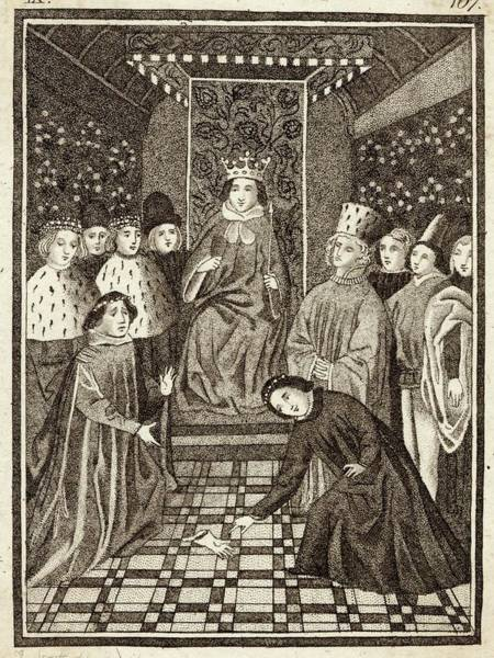 Wall Art - Drawing - King Richard II Overseeing An Appeal by Mary Evans Picture Library
