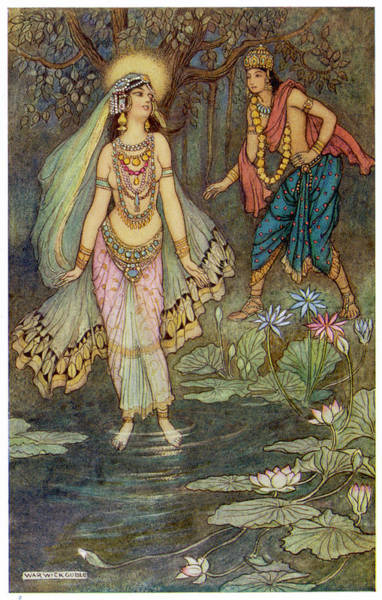 Become One Wall Art - Drawing - King Shantanu Meets Ganga, The  Goddess by Mary Evans Picture Library