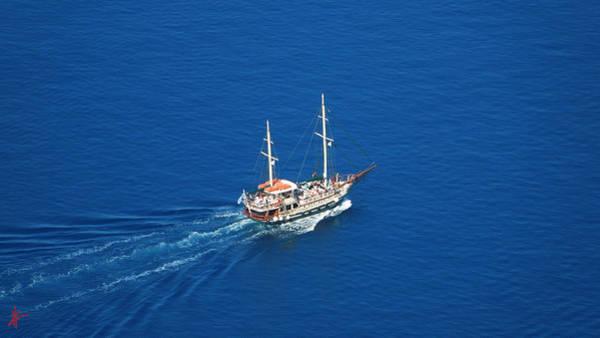 Photograph - King Thiera Boat Of Too The Vulcano Island Santorini by Colette V Hera  Guggenheim